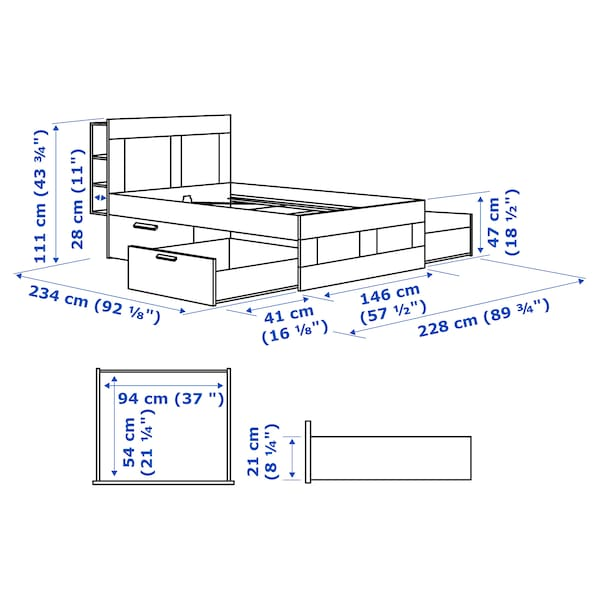 BRIMNES rama łóżka z pojemnikiem, zagłówek biały 234 cm 146 cm 111 cm 200 cm 140 cm