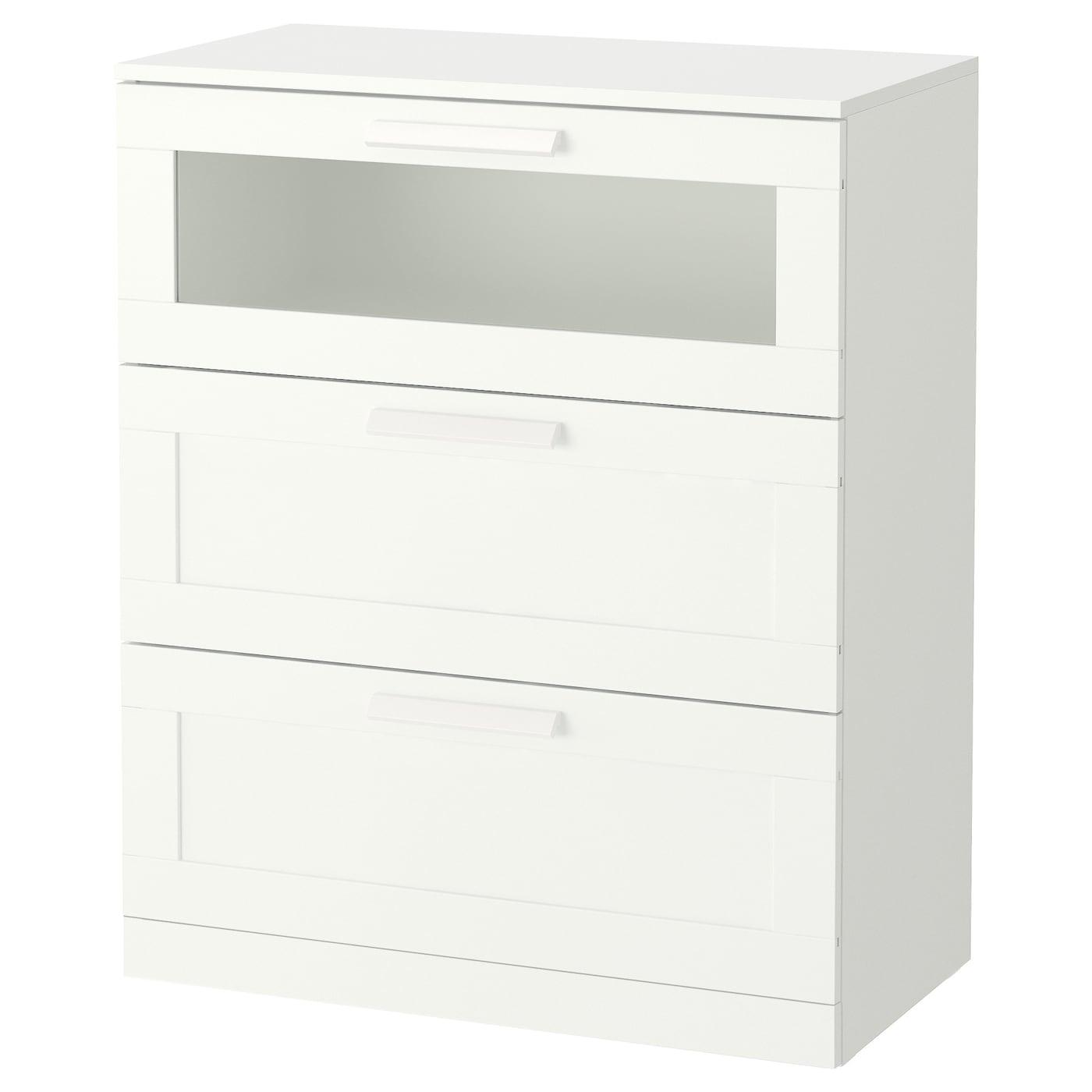 IKEA BRIMNES Komoda, 3 szuflady, biały, szkło matowe, 78x95 cm
