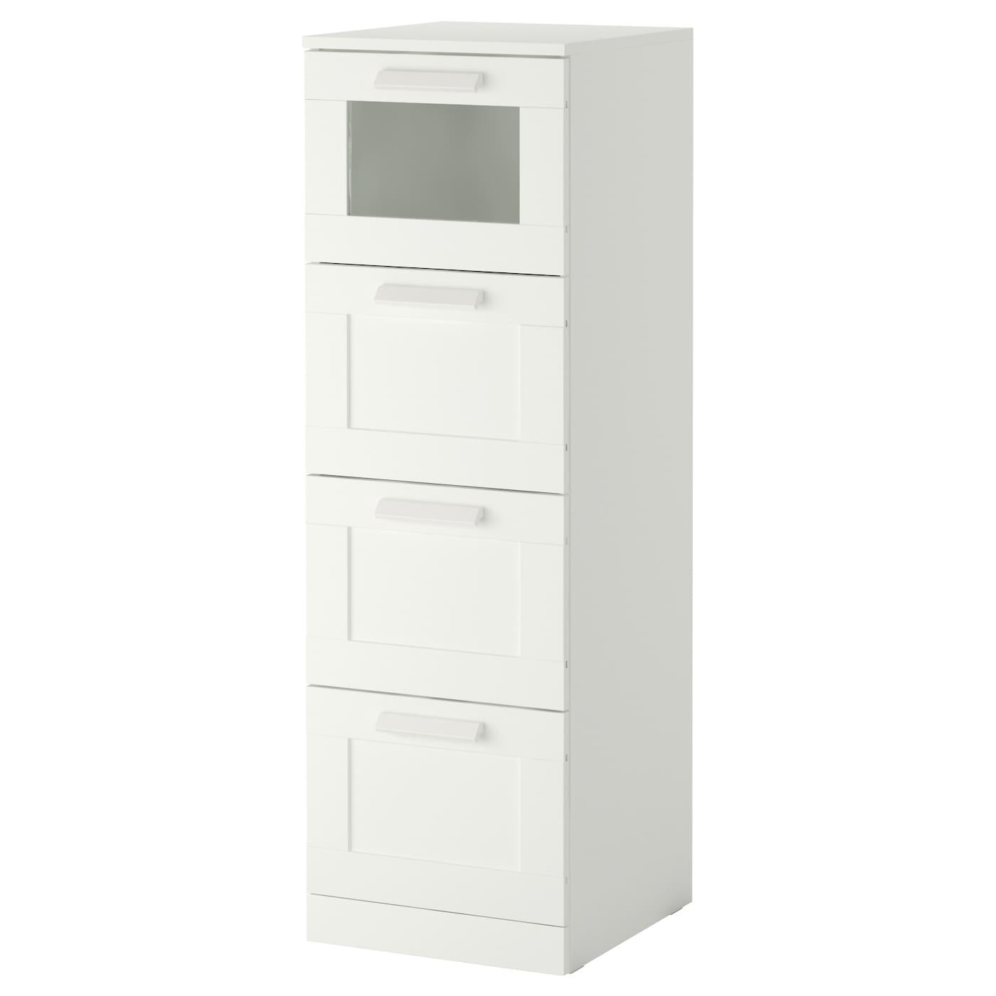 IKEA BRIMNES Komoda, 4 szuflady, biały, szkło matowe, 39x124 cm