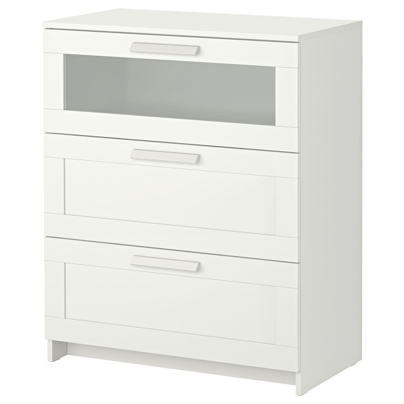 БРИМНЭС-1 Комод с 3 ящиками, белый, матовое стекло, 78x95 см