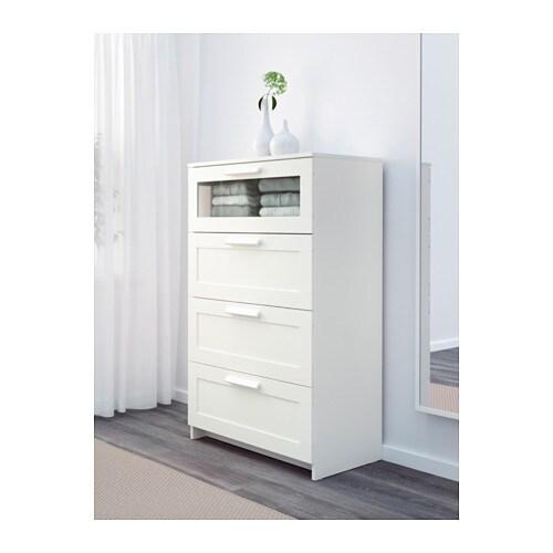 БРИМНЭС Комод с 4 ящиками, белый, матовое стекло, 78x124 см-2