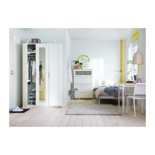 БРИМНЭС Комод с 4 ящиками, белый, матовое стекло, 78x124 см-7