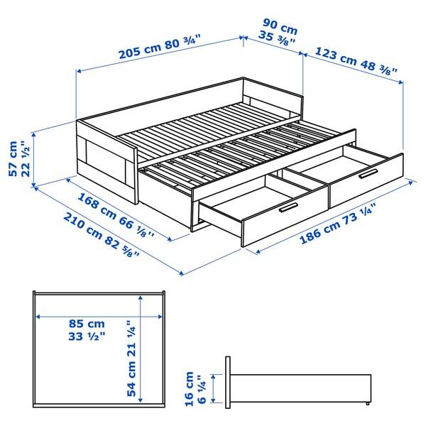 BRIMNES Leżanka z 2 szufladami, 2 materace, biały/Moshult twardy, 80x200 cm