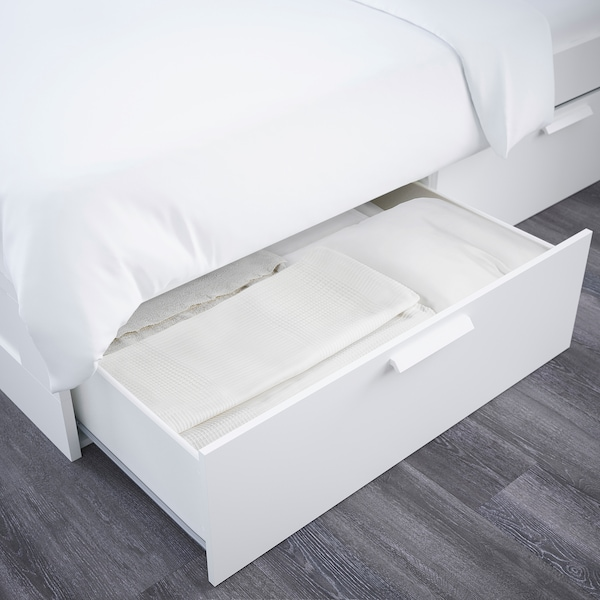BRIMNES Rama łóżka z pojemnikiem, zagłówek, biały/Luröy, 140x200 cm