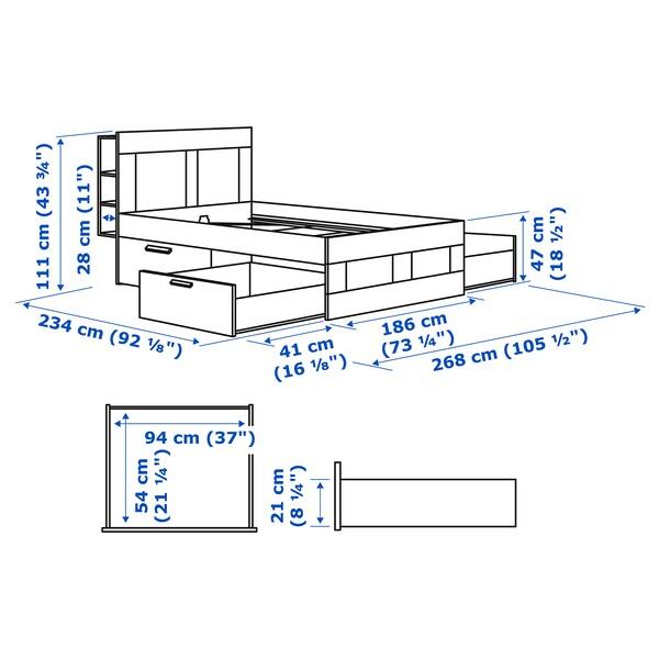 BRIMNES Rama łóżka z pojemnikiem, zagłówek, biały, 180x200 cm