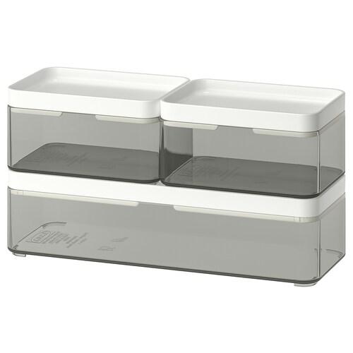 BROGRUND pudełko, 3 szt. przezroczysty szary/biały