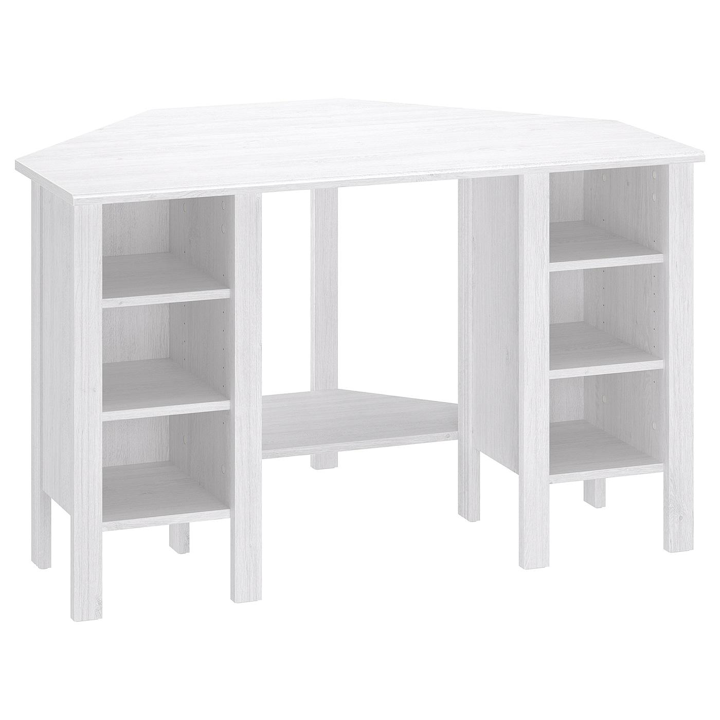 IKEA BRUSALI białe biurko narożne, 120x73 cm