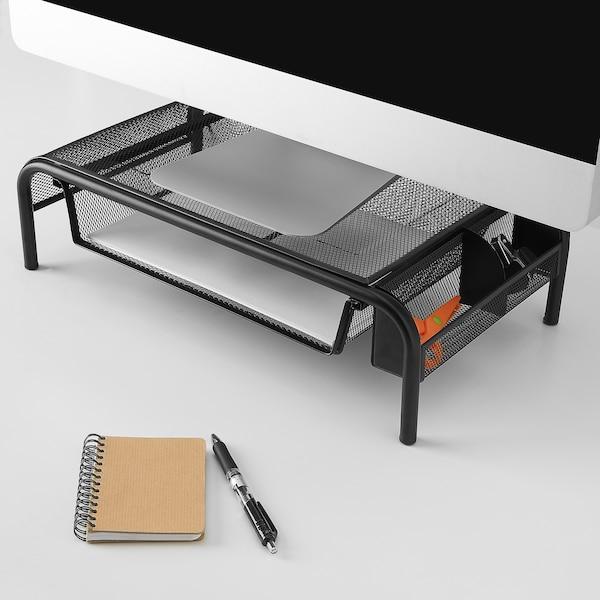 BRYTET Podstawka pod monitor z szufladą, siatka/czarny