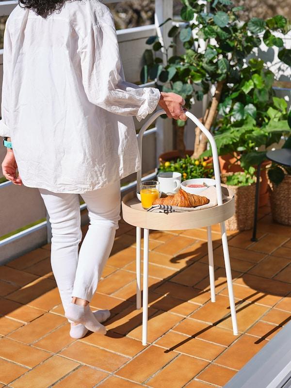 BURVIK Stolik, biały, 38 cm
