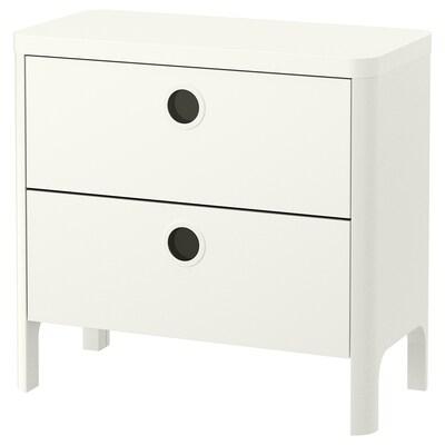 BUSUNGE Komoda, 2 szuflady, biały, 80x75 cm