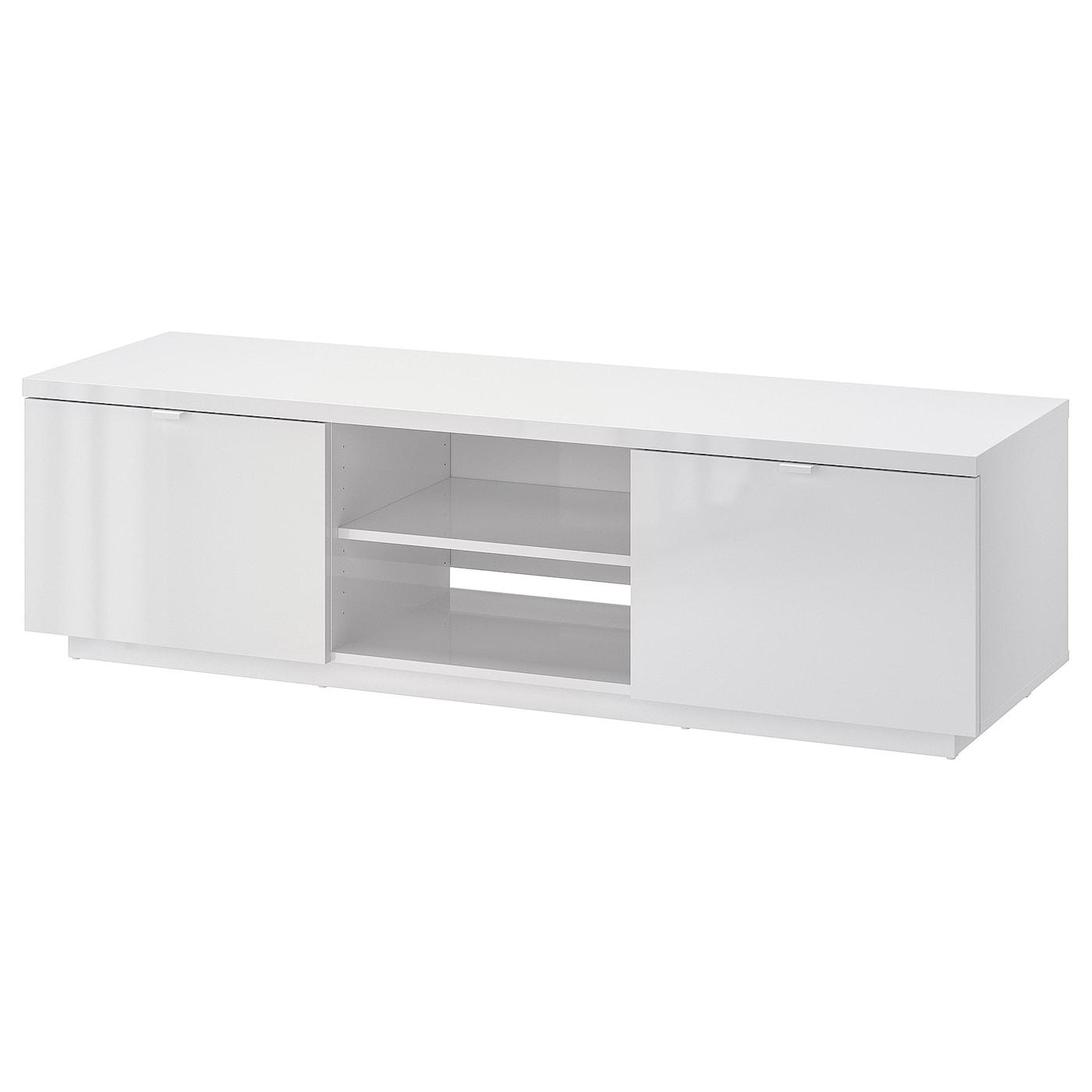 IKEA BYÅS biała szafka pod TV o wysokim połysku, 160x42x45 cm