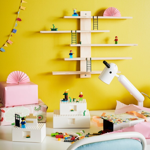 BYGGLEK Pudełko LEGO® z pokrywką, 3p, biały