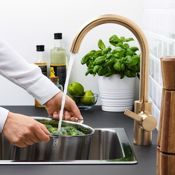 DELSJÖN Bateria kuchenna, kolor mosiądzu