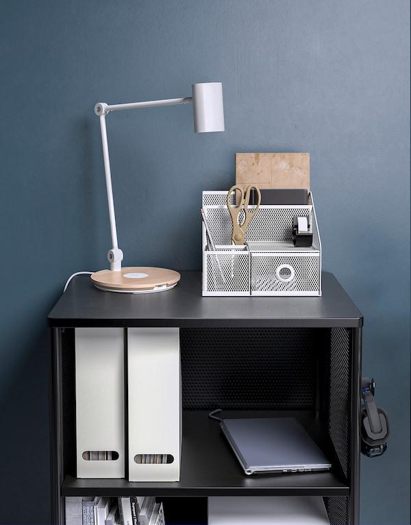 DRÖNJÖNS Organizer na biurko, biały, 25x20 cm