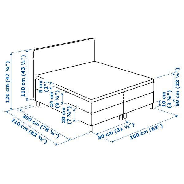 DUNVIK łóżko kontynentalne Hövåg twardy/średnio twardy/Tuddal ciemnoszary 210 cm 160 cm 120 cm 200 cm 160 cm