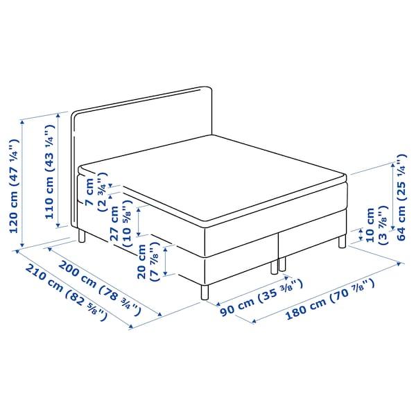 DUNVIK łóżko kontynentalne Hyllestad twardy/Tustna Gunnared niebieski 210 cm 180 cm 120 cm 200 cm 180 cm