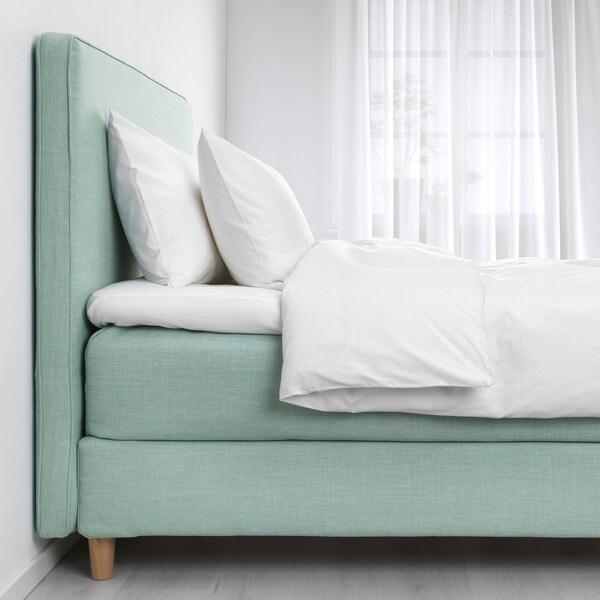 DUNVIK łóżko kontynentalne Hyllestad średnio twardy/Tussöy jasnoturkusowy 210 cm 180 cm 120 cm 200 cm 180 cm