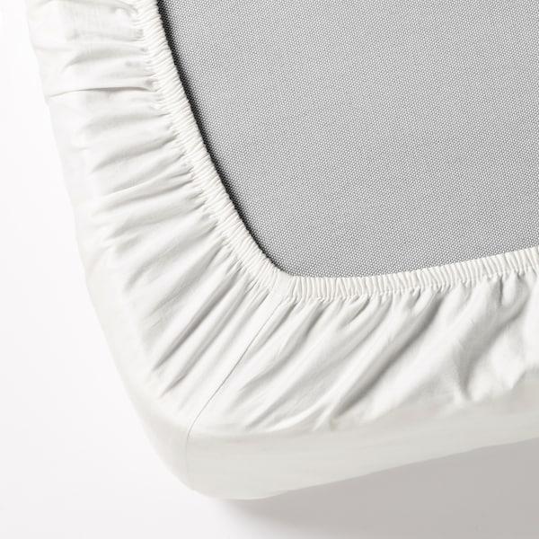 DVALA Prześcieradło z gumką, biały, 140x200 cm