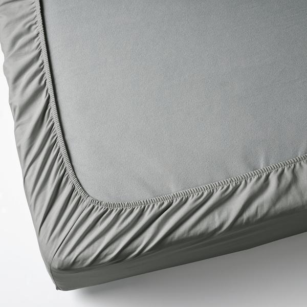 DVALA Prześcieradło z gumką, jasnoszary, 90x200 cm
