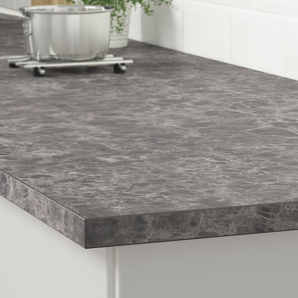EKBACKEN Blat, ciemnoszary imitacja marmuru/laminat, 246x2.8 cm