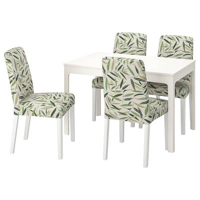 EKEDALEN / BERGMUND Stół i 4 krzesła, biały/Fågelfors wielobarwny, 120/180 cm