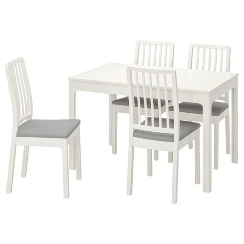EKEDALEN / EKEDALEN stół i 4 krzesła biały/Orrsta jasnoszary 120 cm 180 cm