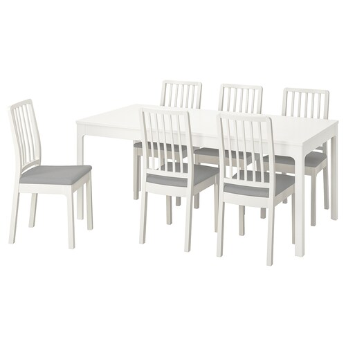EKEDALEN / EKEDALEN stół i 6 krzeseł biały/Orrsta jasnoszary 180 cm 240 cm