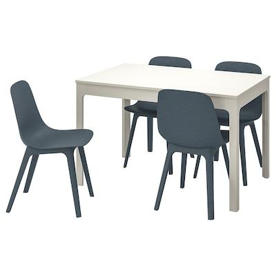 EKEDALEN / ODGER Stół i 4 krzesła, biały/niebieski, 120/180 cm