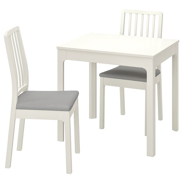 EKEDALEN / EKEDALEN Stół i 2 krzesła, biały/Orrsta jasnoszary, 80/120 cm