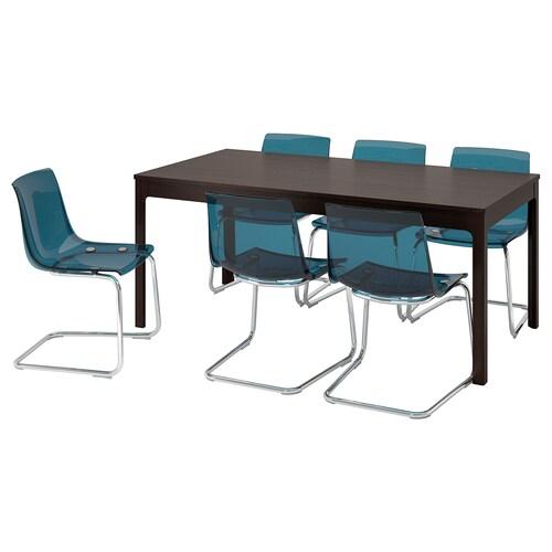 EKEDALEN / TOBIAS stół i 6 krzeseł ciemnobrązowy/niebieski 180 cm 240 cm