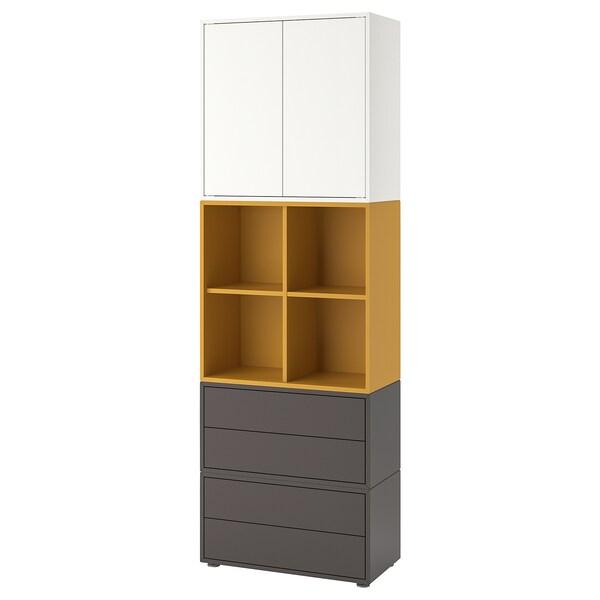 EKET kombinacja szafek ze stopkami biały/złoto-brązowy ciemnoszary 70 cm 70 cm 35 cm 212 cm