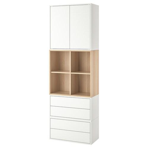 EKET kombinacja szafek ze stopkami biały/dąb bejcowany na biało 70 cm 70 cm 35 cm 212 cm