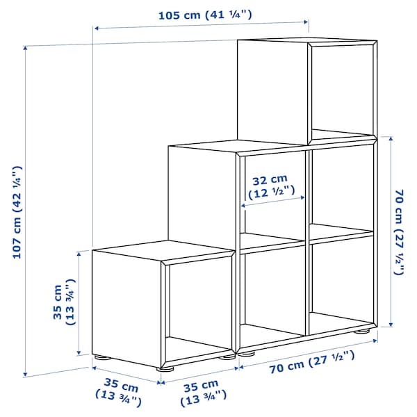 EKET Kombinacja szafek ze stopkami, biały/ciemnoszary/jasnoszary, 105x35x107 cm