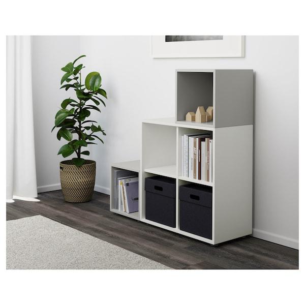 EKET Kombinacja szafek ze stopkami, biały/jasnoszary, 105x35x107 cm