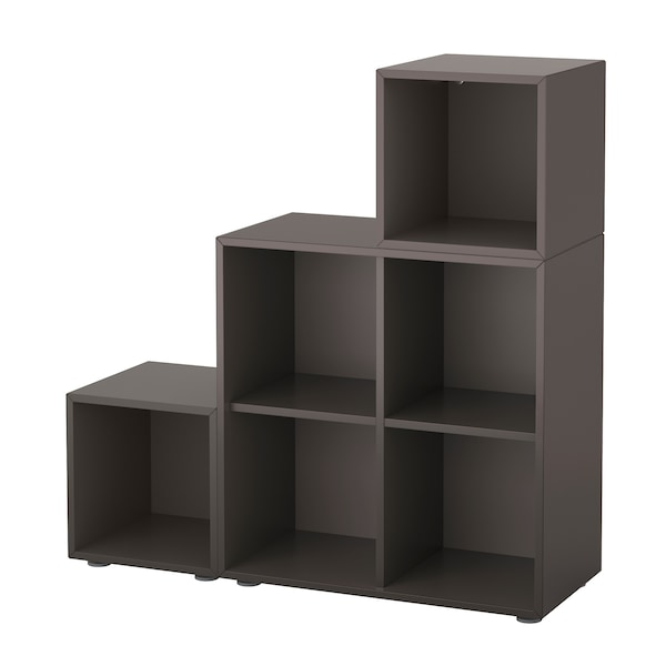 EKET Kombinacja szafek ze stopkami, ciemnoszary, 105x35x107 cm