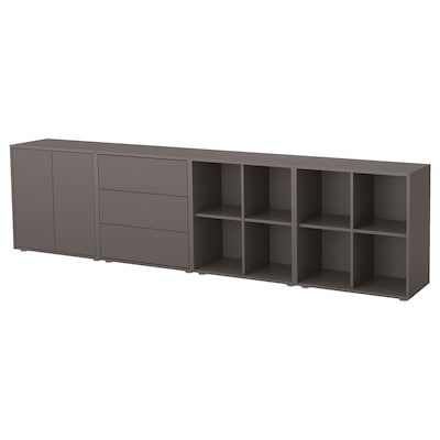 EKET Kombinacja szafek ze stopkami, ciemnoszary, 280x35x72 cm
