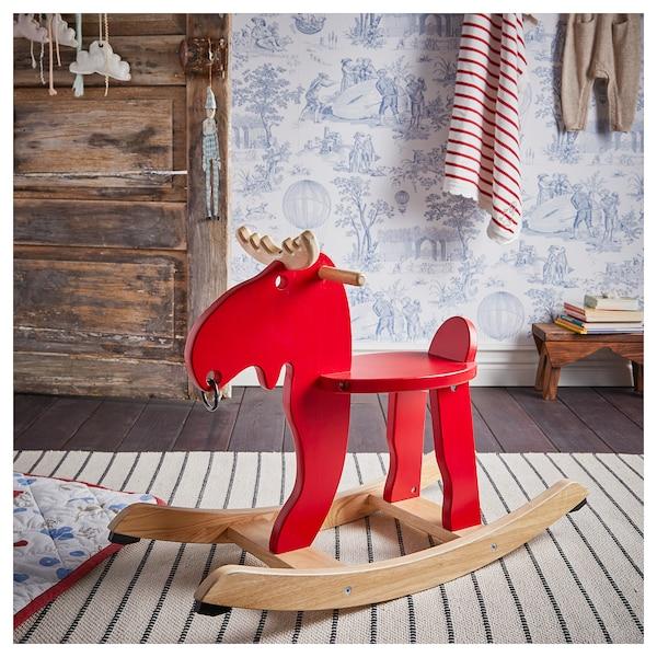EKORRE Łoś na biegunach, czerwony/drewno kauczukowe