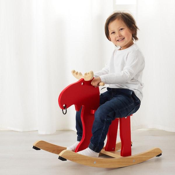 EKORRE Łoś na biegunach czerwony/drewno kauczukowe 73 cm 29 cm 52 cm