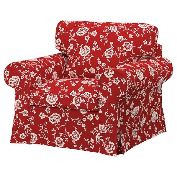 EKTORP Fotel, Virestad czerwony/biały