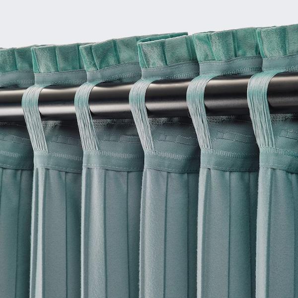 ELDTORN Zasłony zacieniające, 1 para, szaroturkusowy, 145x300 cm