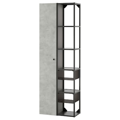 ENHET Kombinacja przechow ścienna, antracyt/imitacja betonu, 60x32x180 cm