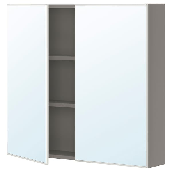 ENHET Szafka z lustrem i drzwiami, szary, 80x15x75 cm