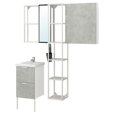 ENHET / TVÄLLEN Meble łazienkowe, zest. 16 szt., imitacja betonu/biały bateria Pilkån, 44x43x87 cm