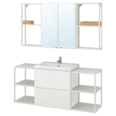 ENHET / TVÄLLEN Meble łazienkowe, zestaw 18 szt, biały/bateria Pilkån, 140x43x65 cm