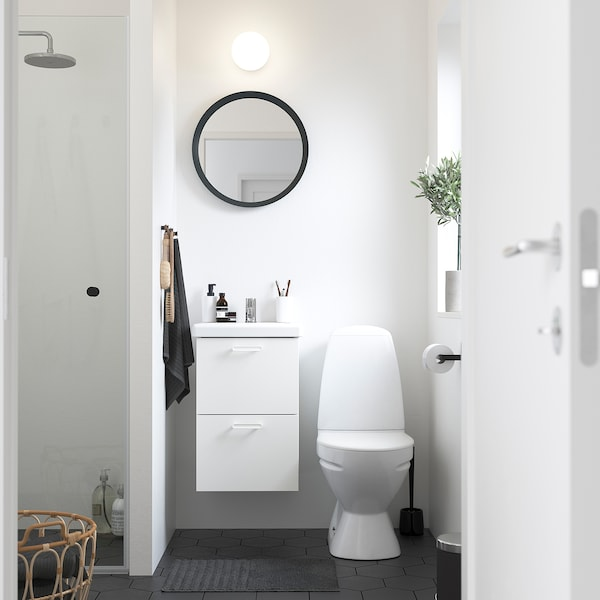ENHET / TVÄLLEN Szafka pod umywalkę z 2 szufladami, biały/bateria Pilkån, 44x43x65 cm