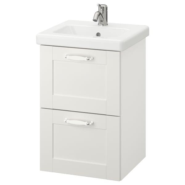 ENHET / TVÄLLEN Szafka pod umywalkę z 2 szufladami, biały rama/biały bateria Lillsvan, 44x43x65 cm