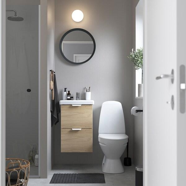 ENHET / TVÄLLEN Szafka pod umywalkę z 2 szufladami, imit. dębu/biały bateria Pilkån, 44x43x65 cm