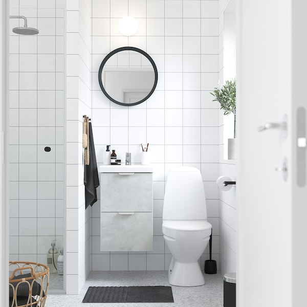 ENHET / TVÄLLEN Szafka pod umywalkę z 2 szufladami, imitacja betonu/biały bateria Pilkån, 44x43x65 cm