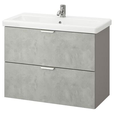 ENHET / TVÄLLEN Szafka pod umywalkę z 2 szufladami, imitacja betonu/szary bateria Pilkån, 84x43x65 cm