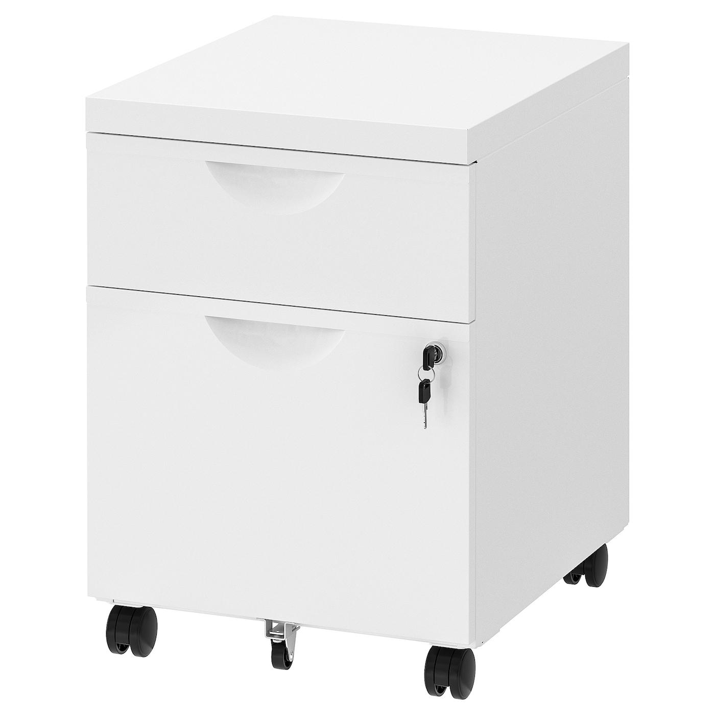 IKEA ERIK biała komoda na kółkach z dwiema szufladami, 41x57 cm